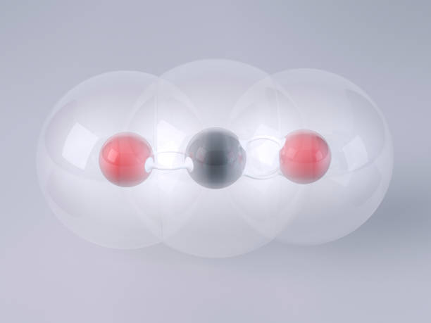 Carbon Dioxide Molecule 3D Render Gray Background 3D Render of a Carbon Dioxide (CO2) Molecule Ball-And-Stick Model in front of a gray background. Van der Waals radius: Carbon 170pm, Oxygen 152 pm. Bond angle: 180 degree. Very high resolution available! molecule 3d stock pictures, royalty-free photos & images