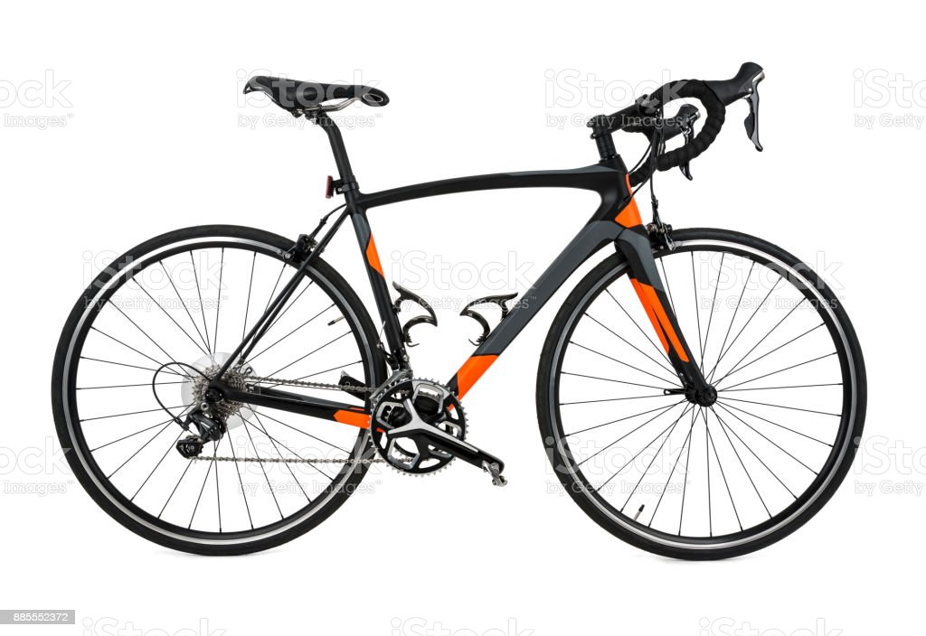 Carbon Fiber Bicycle isolated on a pure white background stock photo