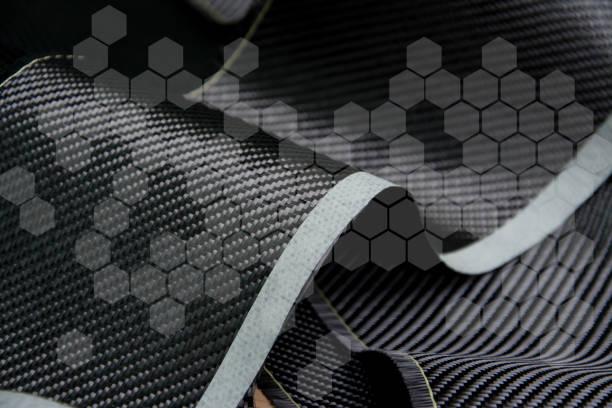 Carbon fiber composite material background - foto stock