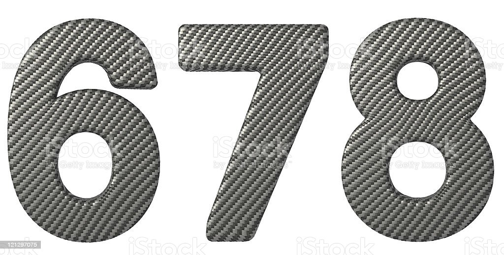 Carbon fiber font 6 7 8 numerals royalty-free stock photo