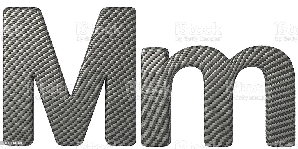 Carbon fiber font M lowercase and capital letters royalty-free stock photo
