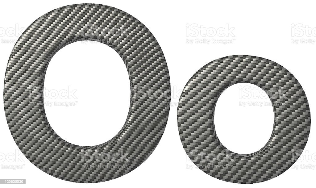 Carbon fiber font O lowercase and capital letters stock photo