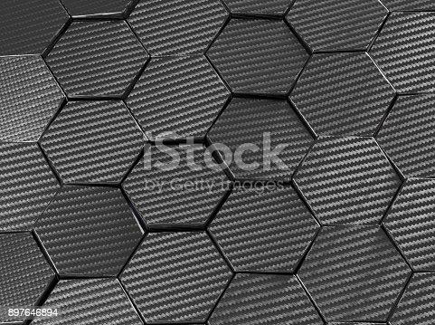 istock Carbon fiber hexagon abstract background 3D Illustration 897646894