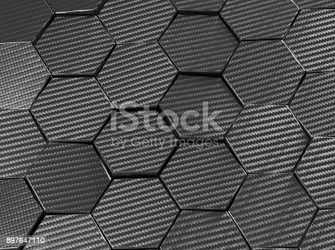 831481722istockphoto Carbon fiber hexagon abstract background 3D Illustration 897647110
