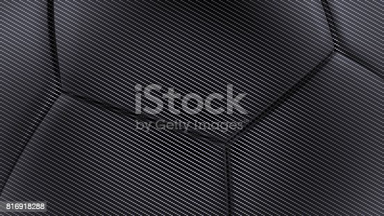 istock Carbon fiber soft hexagonal shape background 3d render 816918288