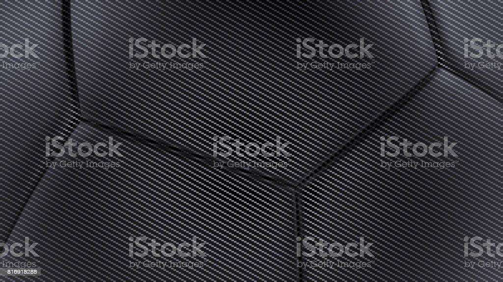 Carbon fiber soft hexagonal shape background 3d render stock photo