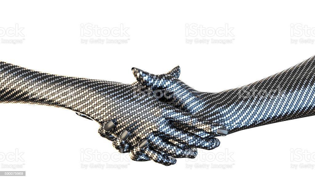 Carbon fiber textured hankshake isolated stock photo
