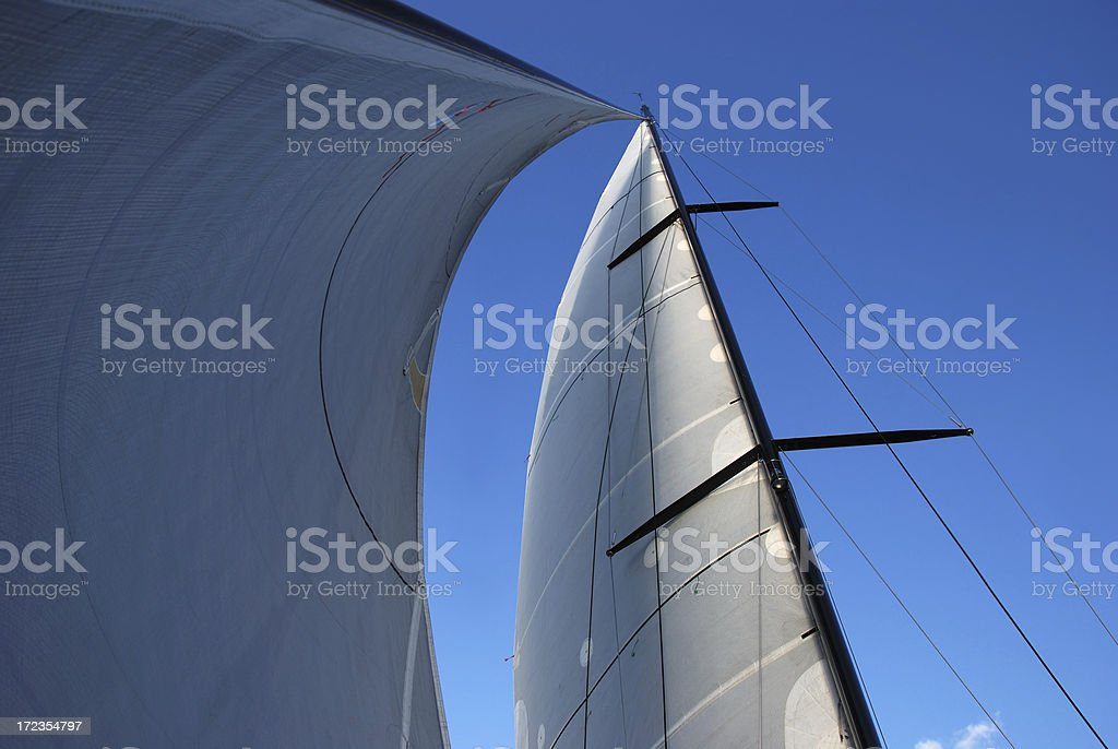 carbon fibre rigging and full sails royalty-free stock photo