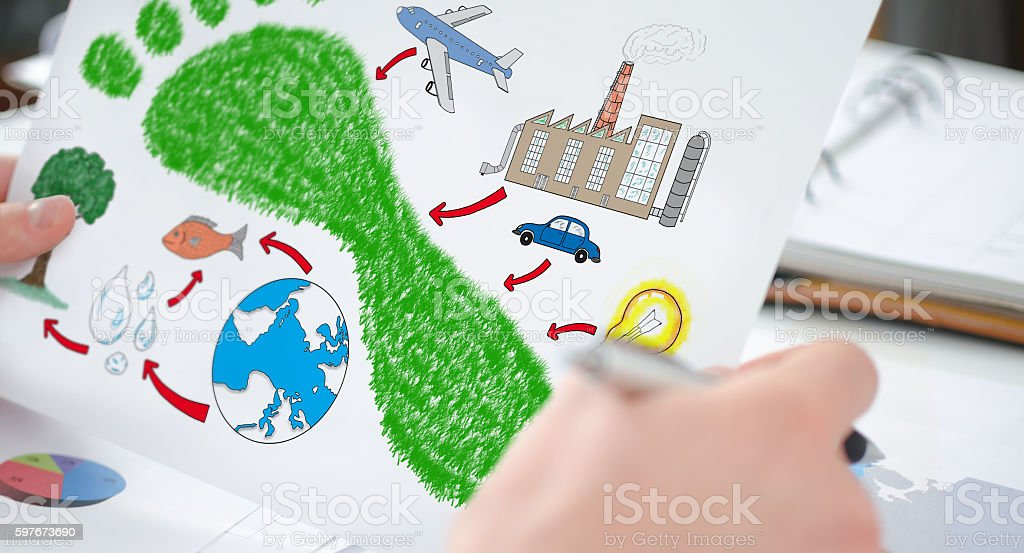 Carbon footprint concept on a paper stock photo