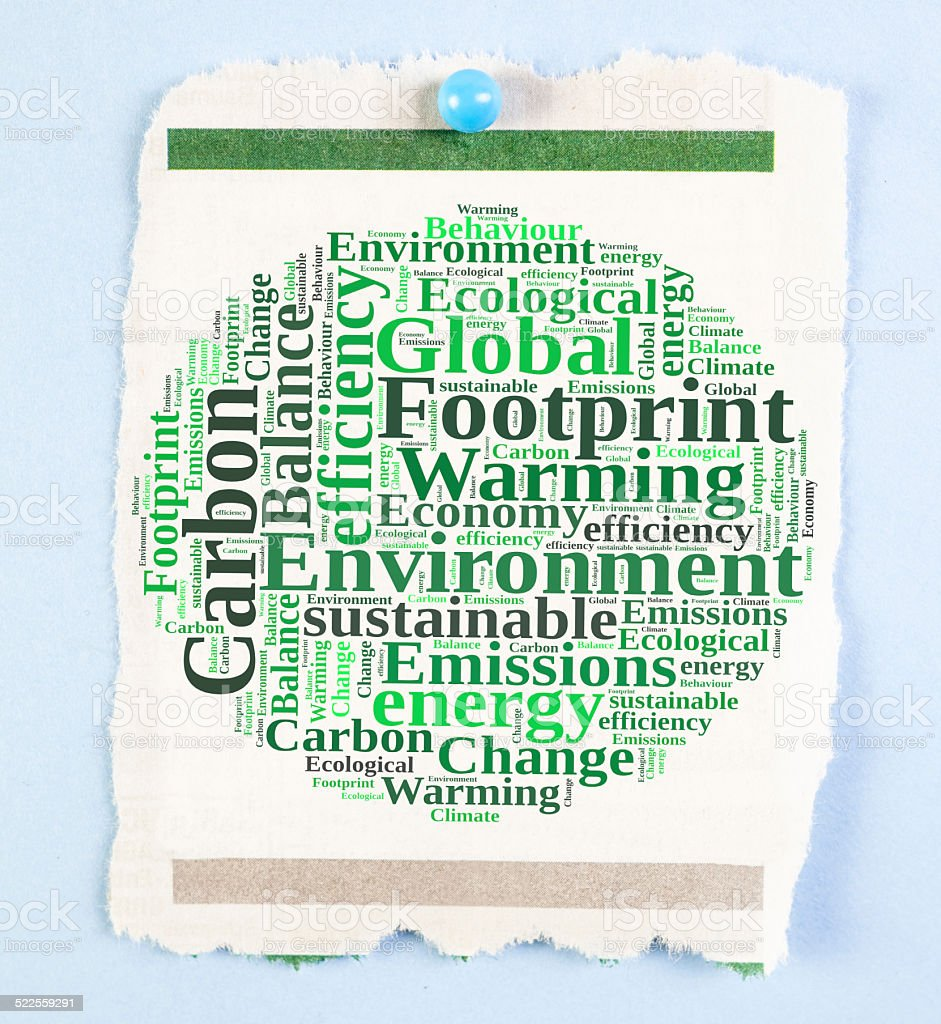 carbon footprint notice stock photo