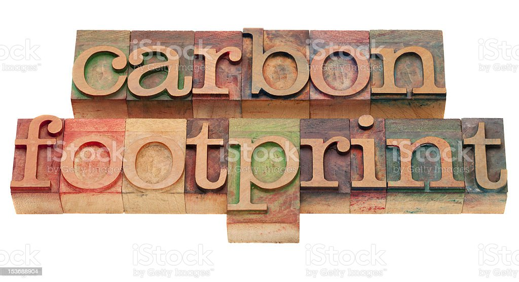 carbon footprint - words in letterpress type stock photo