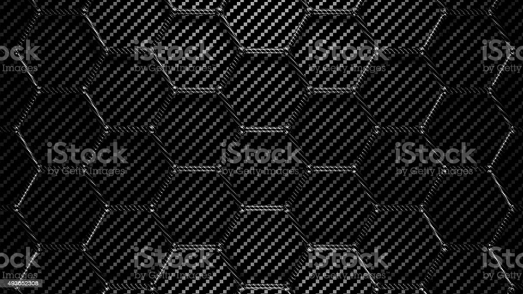 carbon hexagons grid background stock photo