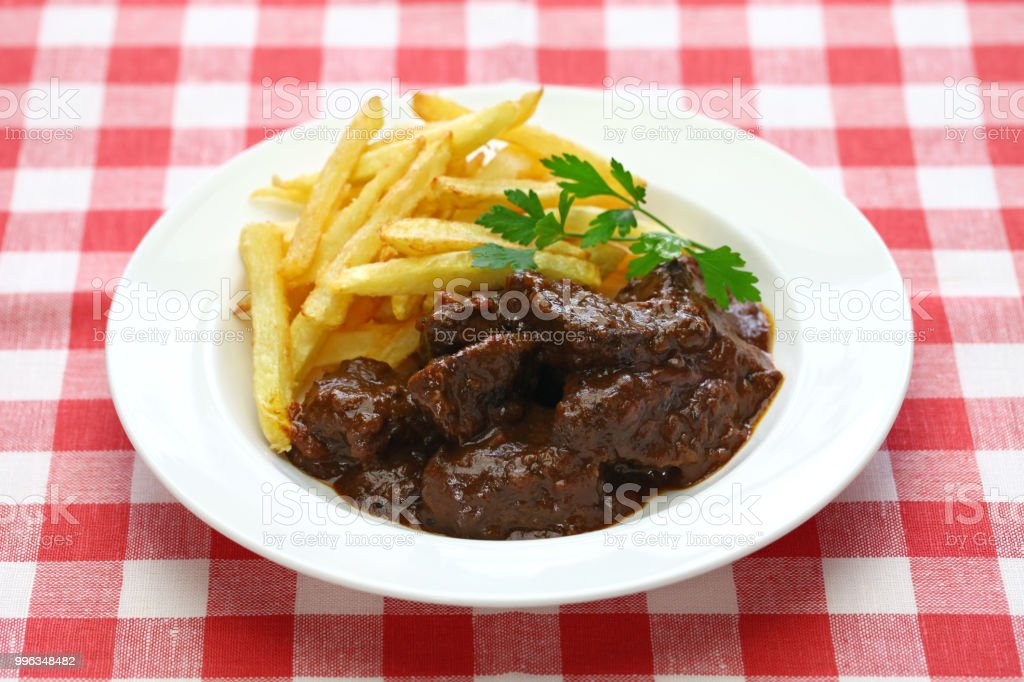 carbonade flamande, flemish beef stew, belgian cuisine stock photo