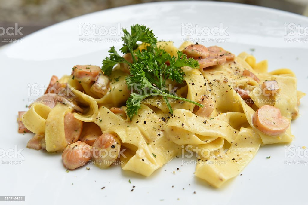 fettuccine carbonara stock photo
