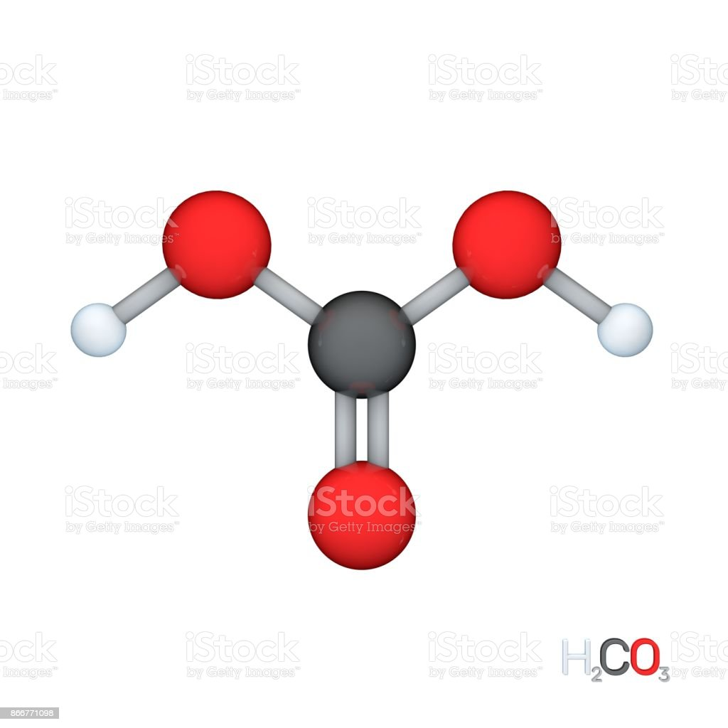 Carbonic acid model molecule. Isolated on white background. 3D rendering illustration. stock photo