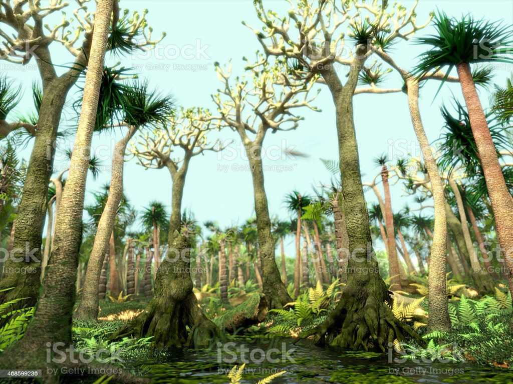 Carboniferous forest stock photo