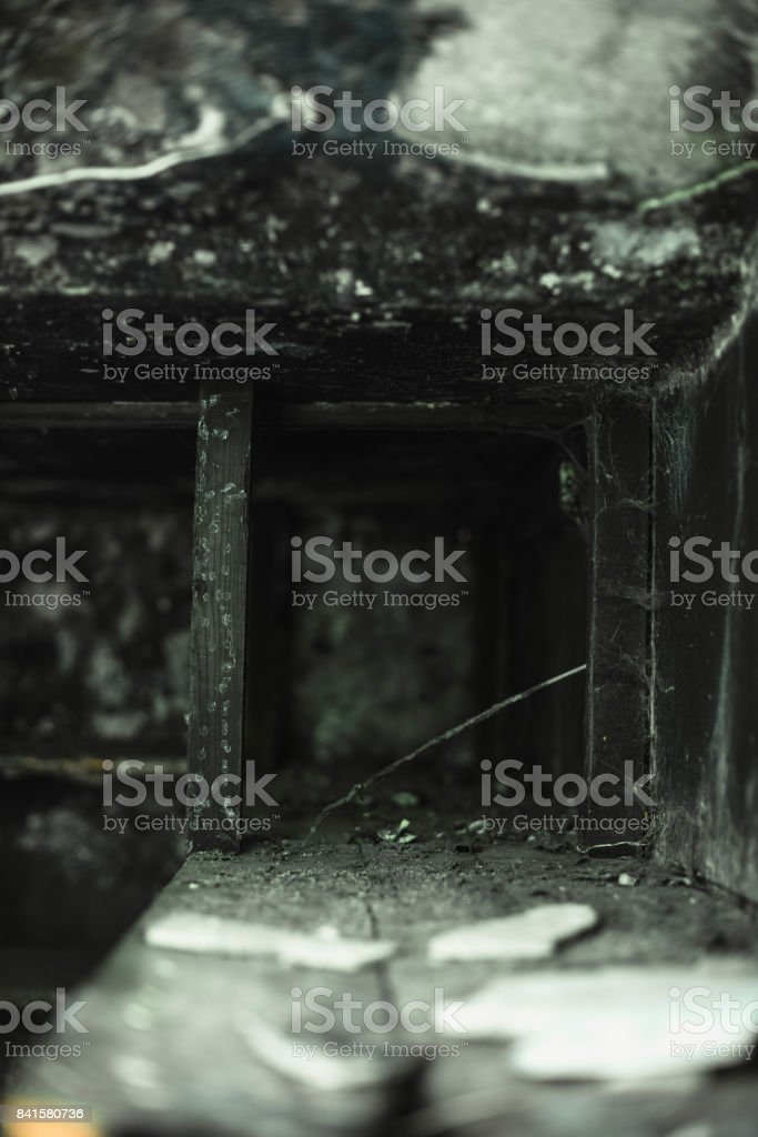 Carbonized shelves of interior of building caused by fire. stock photo