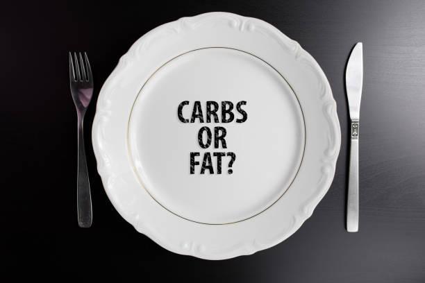 Carbohidratos o grasa concepto fondo de blog o página web. Vista superior placa con mensaje. copia espacio para texto. - foto de stock
