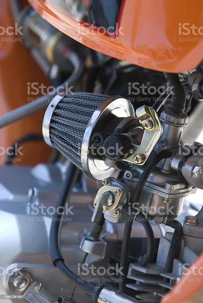 Carburetor of small, racing motorbike stock photo