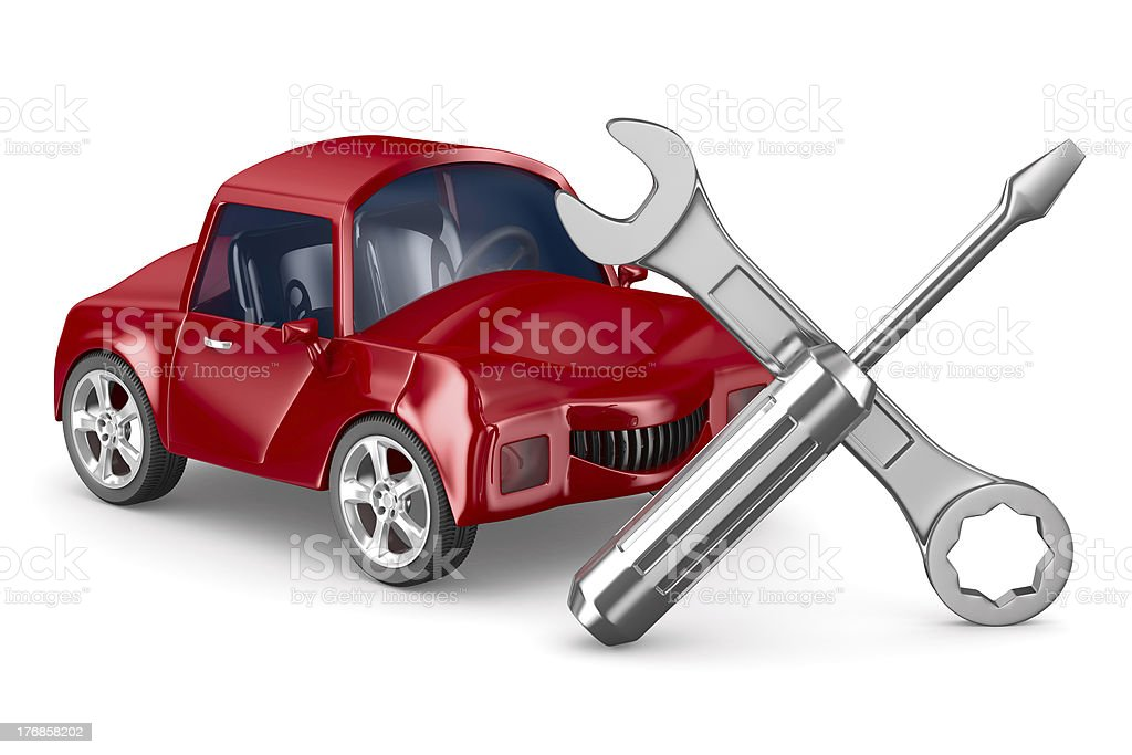 Car-care centre on white background. Isolated 3D image royalty-free stock photo
