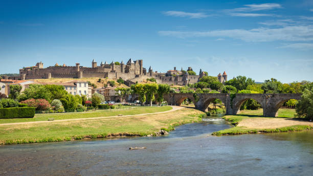 Carcasonne Cityscape Panorama in Summer France stock photo