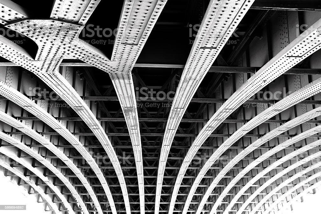 Carcass of the bridge. Technogenic abstract background Lizenzfreies stock-foto