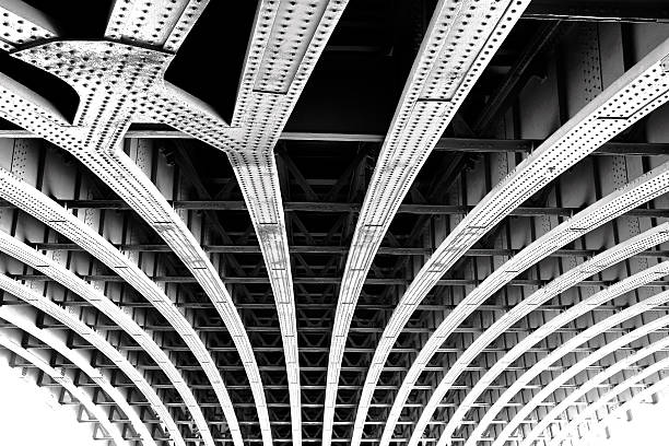 Carcass of the bridge. Technogenic abstract background stock photo
