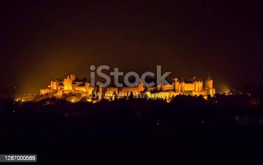 view of the old city of carcassonne at night. Aude. France