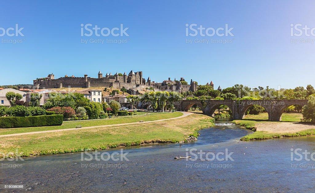 Carcassonne Panorama Aude France stock photo
