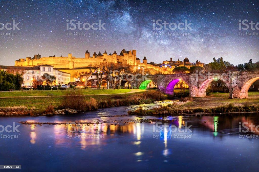 Carcassonne Pont Vieux france night reflection blue hour cite bridge