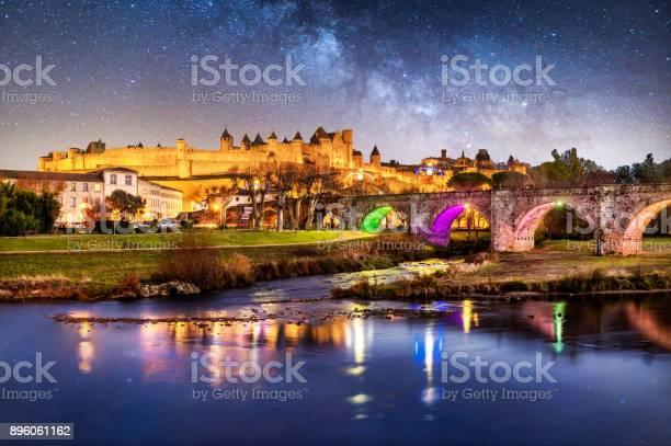 Photo of Carcassonne Pont Vieux france night reflection blue hour cite bridge