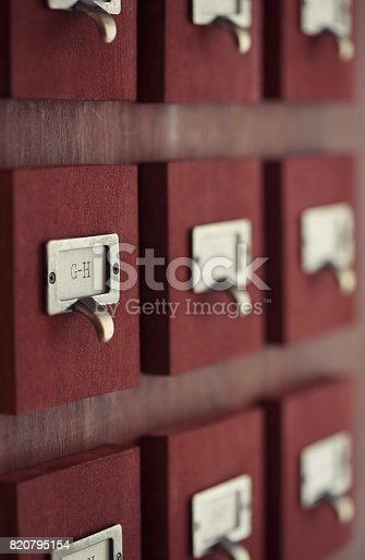 Old wooden catalogue drawers.