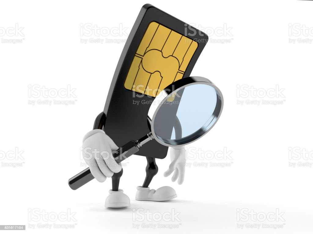 SIM card character looking through magnifying glass stock photo