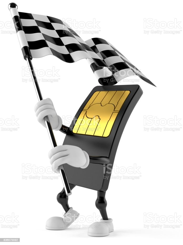 SIM card character waving race flag stock photo