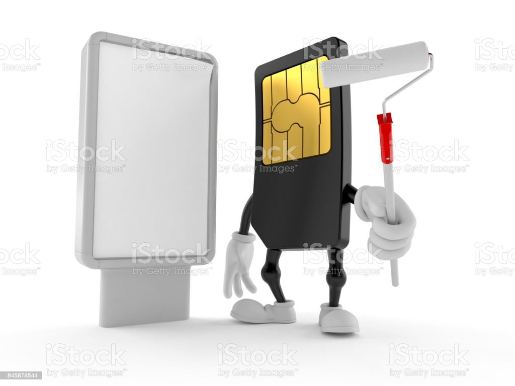 SIM card character with blank billboard stock photo