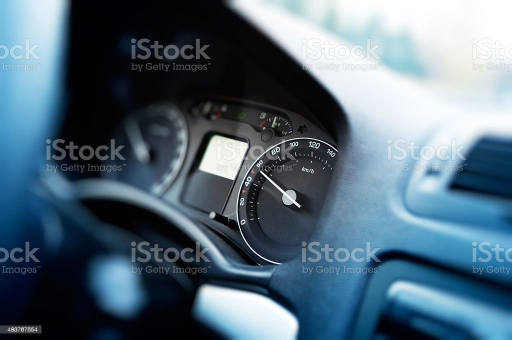 Card dashboard in motion at 60 kmh stock photo