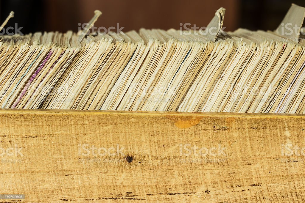Card file box in the archive stock photo