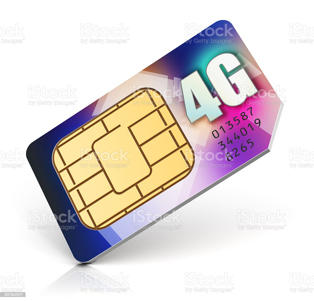 SIM card for 4G enabled operator stock photo