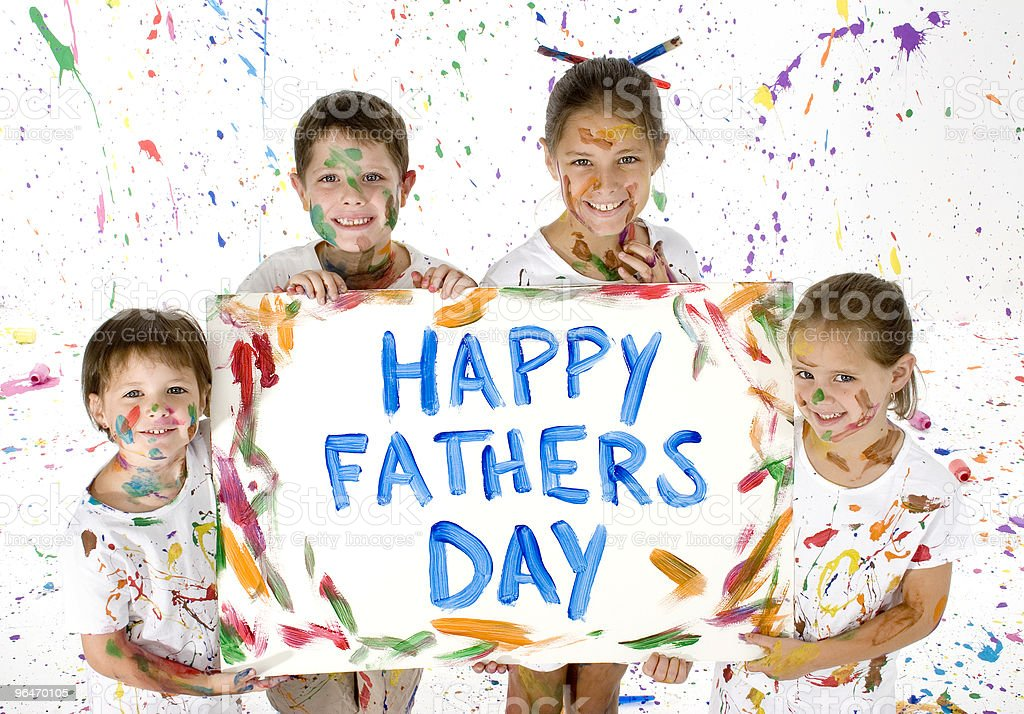 Card for Father's Day painted by playful siblings royalty-free stock photo
