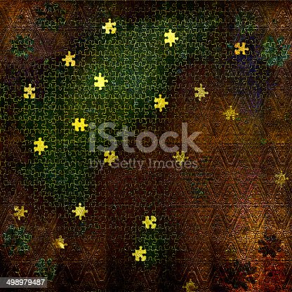 istock Card for invitation or congratulation with puzzle 498979487