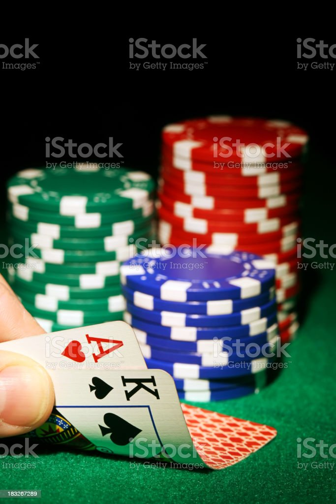 Card game with chips on the side royalty-free stock photo