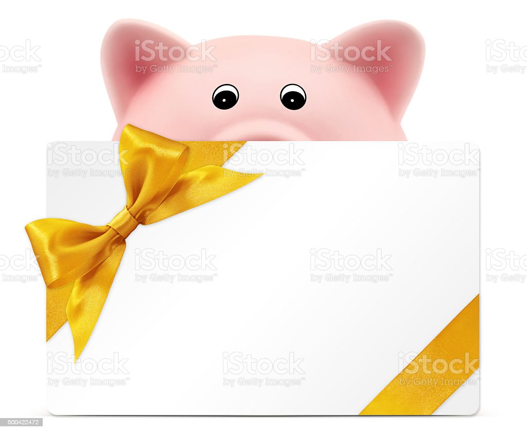 card gift with piggy bank, golden ribbon bow, on white stock photo