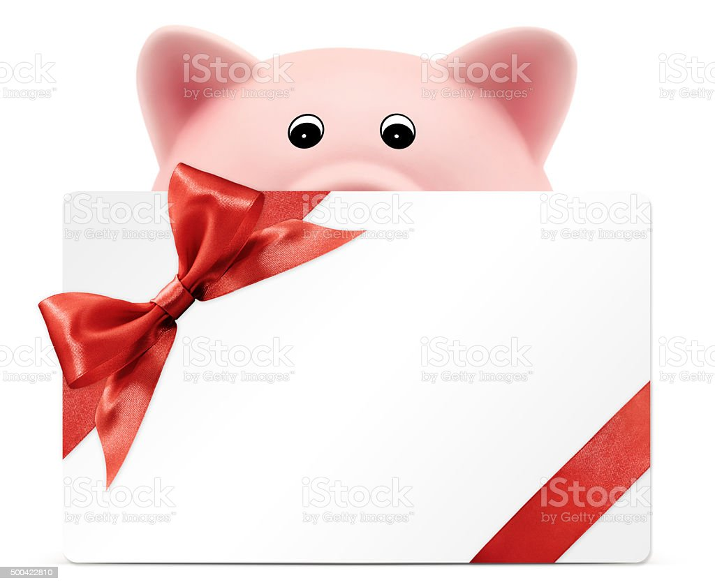 card gift with piggy bank, red ribbon bow, on white stock photo
