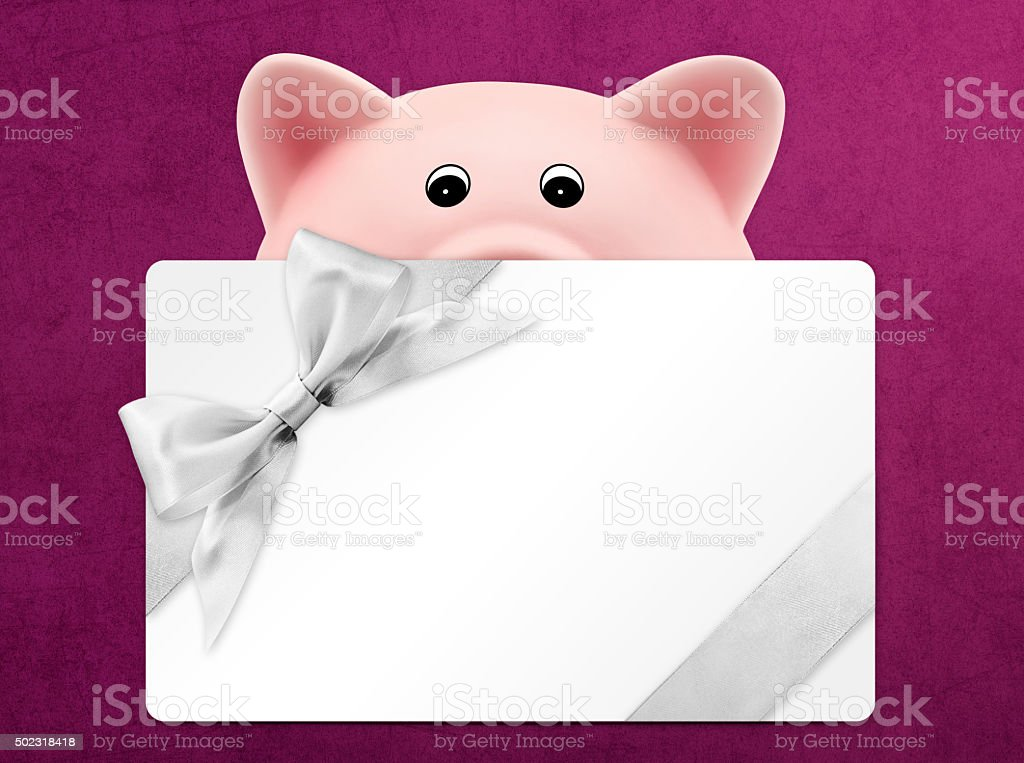card gift with piggy bank, silver ribbon bow, Isolated stock photo