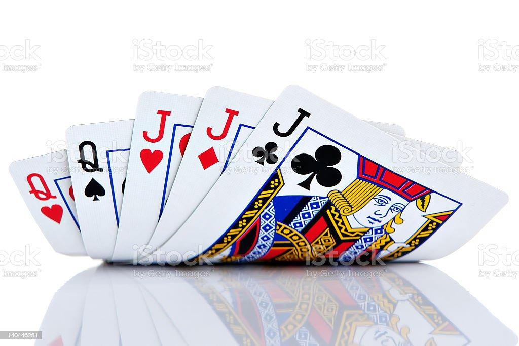 Card hand revealing full house stock photo