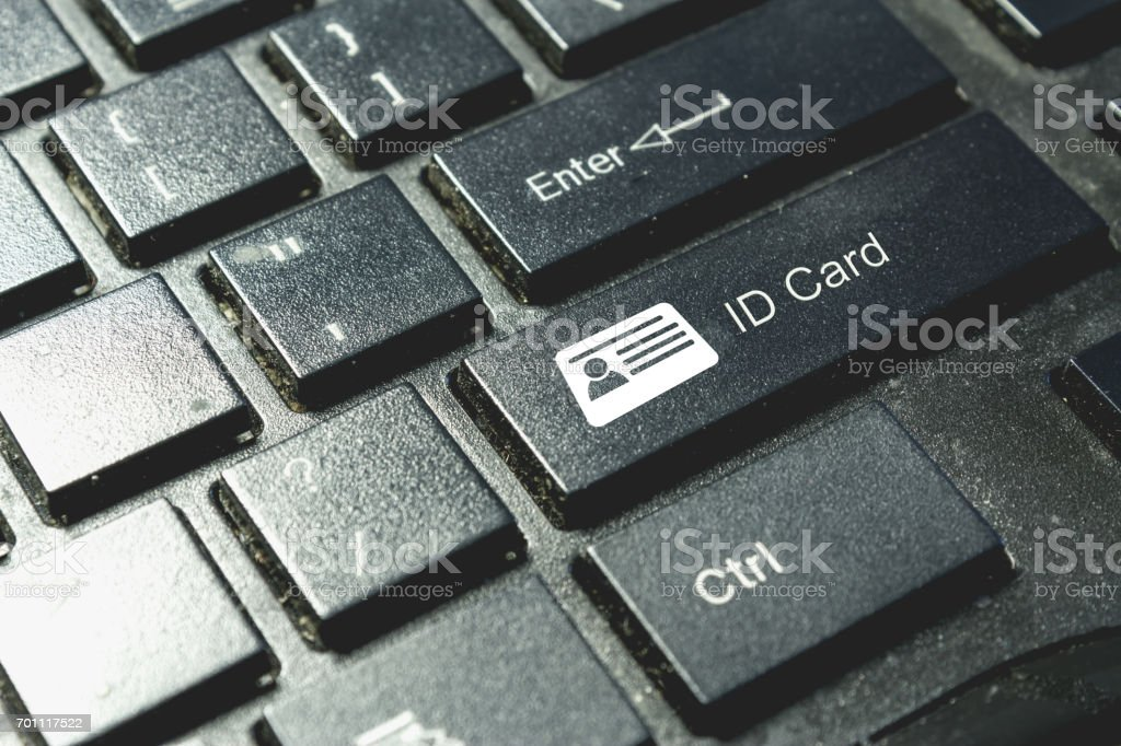 ID card icon on keyboard. Cyber security concept stock photo