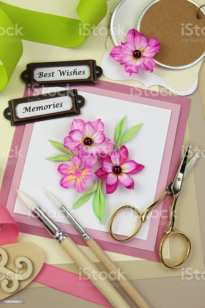 Card maker's table stock photo