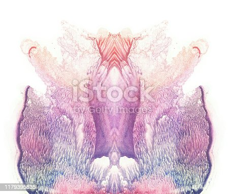 848933370 istock photo Card of a multicolor rorschach inkblot test. Flower. 1179395835