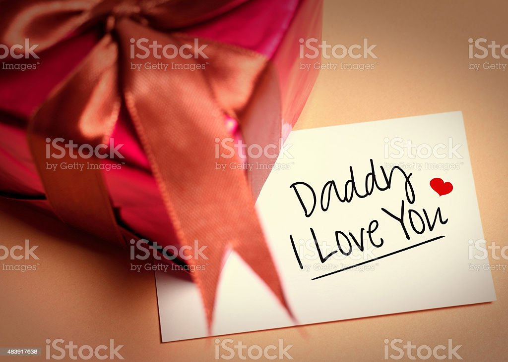 Card of fathers day and prensent box stock photo