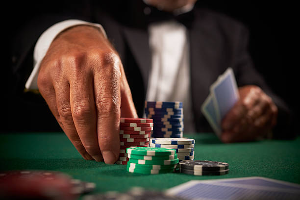 card player gambling in casino - black jack bildbanksfoton och bilder
